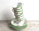 Vintage  Teacups, Japan Demitasse Teacups Saucers Green Trim Floral Set 4