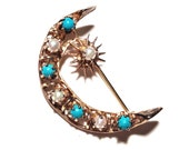 Vintage Crescent Moon Brooch Pin, Turquoise and Cultured Pearl Beads, Gold Over Sterling, Moon and Sun, Signed, VisionsOfOlde