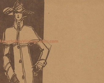 vintage 1970's haute couture givenchy fashion plate drawing illustration print retro picture designer women clothing original mid century
