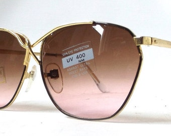 vintage 1980's round sunglasses oversized thin gold metal frames brown pink gradient lenses women fashion accessories accessory sun glasses