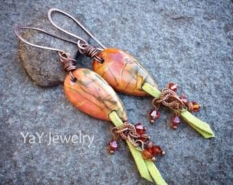 Red Magma Earrings, Red Creek Jasper Earrings, Jasper Jewelry, Gemstone Earrings, Tribal Earrings, Dangle Earrings, Minnesota, YaYJewelry