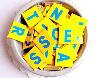 Scrabble Junior Game Pieces  / 15 Pieces / Junk Journal / Smash Book / Yellow Tiles