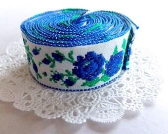 Vintage Embroidered Lace Trim / Blue Rose Floral / 1 & 3/4 Yards