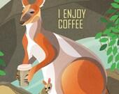 Wallaby Enjoys Coffee