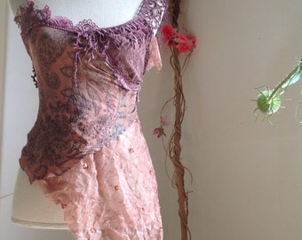 Dusty rose faery silk top with corset lacing, romantic gypsy style