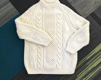 Vintage Wool fishermans Sweater / Handknit Sweater / Ireland
