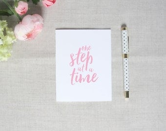 One Step at a Time | Inspirational Greeting Card | Breast Cancer Awareness | Flamingos for a Cure | Blank Greeting Card | Encouragement Gift