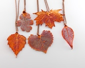 RESERVED - Copper Dipped Leaf Pendant on Long Necklaces