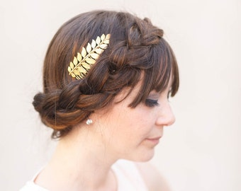 Simple Goddess Gold Leaf Comb -  Bridal or Special Occasion Boho Comb, crown, halo, hair piece