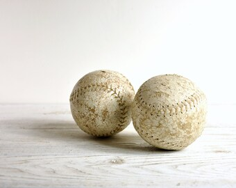 Vintage Softballs, Leather Baseball, Set of 2, Vintage Sports, Sports Decor
