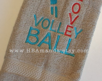 LOVE Volleyball Towel - Volleyball Sports Towel - Volleyball Team Gift