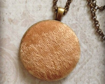 Gold Velvet Necklace~ Antique Bronze Necklace~ Wedding Gift~on trend Fall Fashion Fabric Necklace Boho Gifts for Her