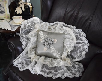 Vintage VICTORIAN THROW PILLOW Sage Green Cream Ruffle Lace Fabric Square Bed Couch Sofa Accent Toss Satin Material Rosette Applique Ribbon
