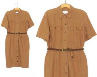 80s Linen Dress * Vintage Shirt Dress *  Shirtwaist 1980s Dress * Large