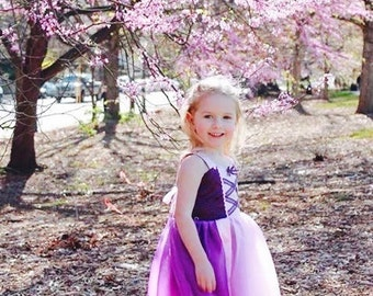 Princess Rapunzel tutu dress: birthday party, sparkle Purple lined with Pink Trim & straps, Easy on and Off for parks trip, princess dinner