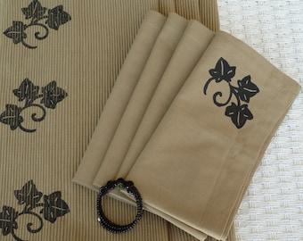 Tan Napkins With Black Leaf Design- Set of 4