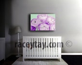 Flower Photography on Canvas - Purple & Mint Girl Nursery Decor- Ranunculus- Pastel Bedroom Wall Art Canvas