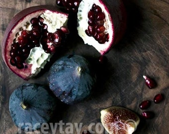 Food Photography, Figs, Pomegranates, Rustic Kitchen Decor, Brown, Blue, Red, Kitchen Wall Art, Rustic