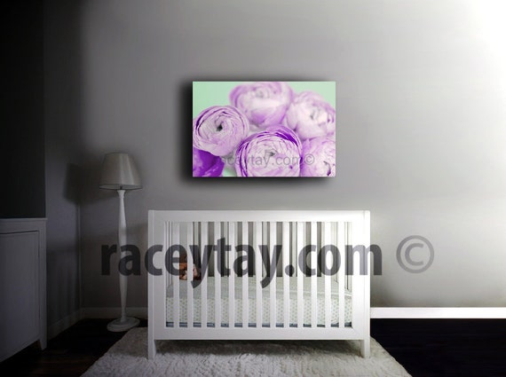 Flower Photography on Canvas - Purple & Mint Girl Nursery Decor- Ranunculus- Pastel Bedroom Wall Art Canvas