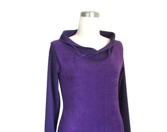 Long Sleeve Top, Custom top, Violet top, Womens top, V neck jersey top, Winter fleece long sleeve top, Womens clothing, Plus size clothing