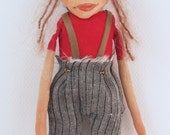 """Cloth and clay folk art miniature elf doll 7"""" tall trousers wool hat ornament holiday christmas #1"""