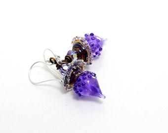 Deep Purple Lampwork Bead Earrings. Wild Iris Glass Bead Earrings. Artisan Earrings. Small Dangle Earrings. Glass Bead Jewelry.