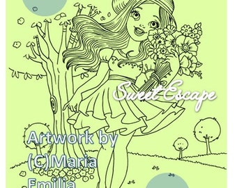 1 Coloring Page: Flowers Girl