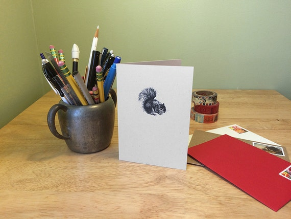 Squirrel notecard.  Squirrel drawing on a note card with natural history about squirrels on the back. Nature art card.