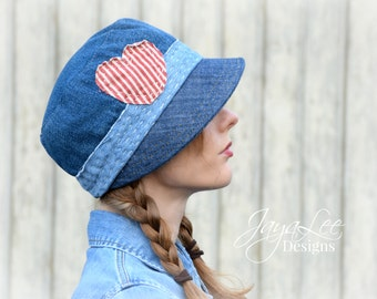 Cloche Hat Cap Patched Upcycled Denim Boro Sashiko Fashion Sample Sale Valentine heart