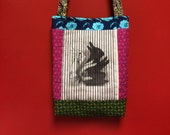 VELVETVILLE rabbit shadow puppet  quilted  tote bag handmade Tanzania textile Shweshwe french vintage FONT fabric
