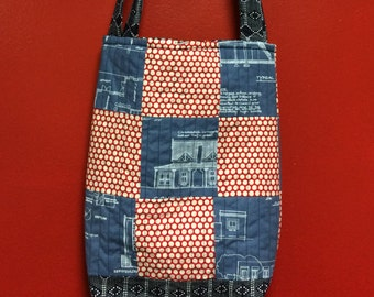 THE ARCHITECT quilted  tote bag handmade Tanzania textile Shweshwe vintage fabric