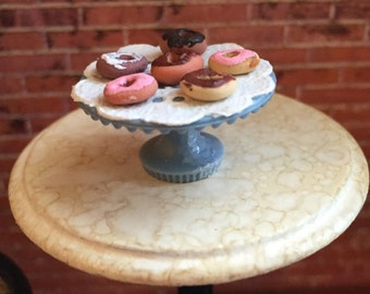 Miniature Donuts, Pretty Donuts on Blue Cake Stand, Dollhouse Miniature, 1:12 Scale, Dollhouse Food, Miniature Food, Dollhouse Accessory