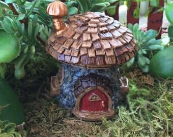 """Micro Mini Fairy Garden House """"Shingletown Mushroom"""" Fairy House by Fiddlehead Fairy Garden Accessory, Home and Garden Decor, Terrarium"""