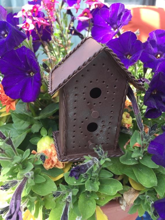 SALE Mini Rusty Metal Tin Birdhouse Pick Two Story Style 2 Garden Accessory Fairy Garden Primitives Miniature Garden Accessory