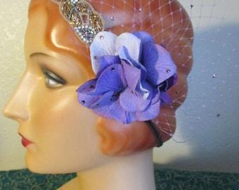 ATS Hair Flower Purple Hydrangea swarovki rhinestone bellydance belly dance cabaret tribal burlesque