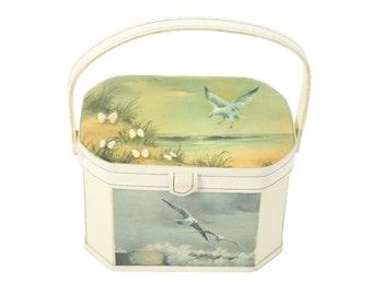 Vintage 70s Wooden Box Purse Ocean Sea Gulls Seashells White Handbag 1970s Decoupage Novelty Bage