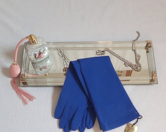 """NWT Mod Vintage 1960's Cerulean Blue Gloves-Mint Elbow Length """"FINALE"""" Nylon Gloves-One Size Fits All"""