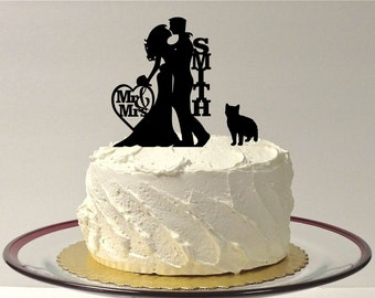 MADE In USA, Cat + Wedding Cake Topper with cat, Silhouette Wedding Cake Topper with pet Cat, Custom Wedding Cake Topper Personalized Topper