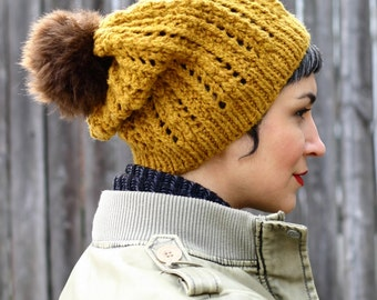 Popcorn Lace Hat Knitting Pattern PDF instant download Slouch hat