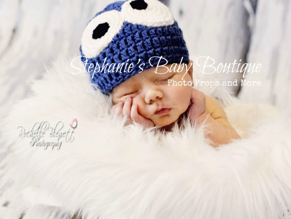 Baby Crochet Cookie Monster Beanie, Custom Made Newborn 0-3, 3-6 Months Blue Boy Girl Hat, Photo Photography Prop Shower Gift