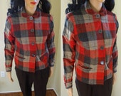1940s 1950s 49er Pendleton Red gray wool coat plaid Jacket Small