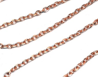BULK Footage Raw Copper Cut Cable Chain By The Foot 3.35mm x 4.46mm Fancy Links American Made Polished Copper Open Not Soldered COP3310XF4