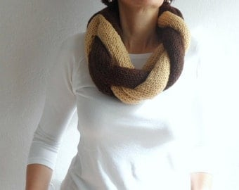 Loop Scarf, Chunky Scarf, Knit Infinity Scarf, Braided Scarf, Cowl Neckwarmer,Twisted Infinity Scarf, Circle Scarf in Brown Beige