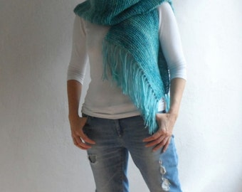 Womens Boho Vest Scarf, Multifunctional Vest Scarf Hood, Fringe Vest Scarf, Blended Teal Green, Winter Accessories
