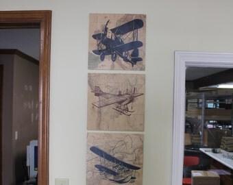 Vintage Airplane Sign/3 Set/Aircraft/Map/Stearman/Bleriot/Plane/Plane Decor/Pilot/Wood Sign/Vintage Style/Plane/Burgundy