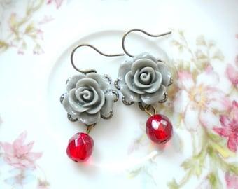 Rose Earrings Flower Earrings Red Dangle Earring Red Jewelry Romantic Earrings Red Drop Earring Grey Rose Earrings Romantic Jewelry