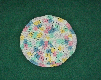 Pastel Round Washcloth Dishcloth Cotton Crochet Light Pastel Dishcloth