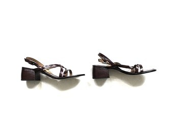 Vintage Leather Sandals 6 / Brown Leather Sandals / Strappy Sandals