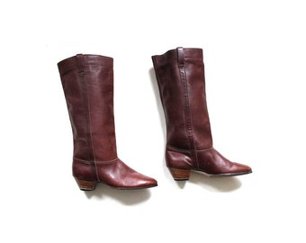 s a l e Vintage Leather Boots 6 / Whiskey Brown Leather Boots / Tall Boots / Stacked Heel Boots