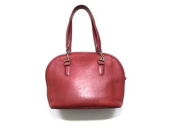 Vintage Coach Bag / Coach Bowler Bag / Burgundy Leather Coach Purse / Coach Hangbag